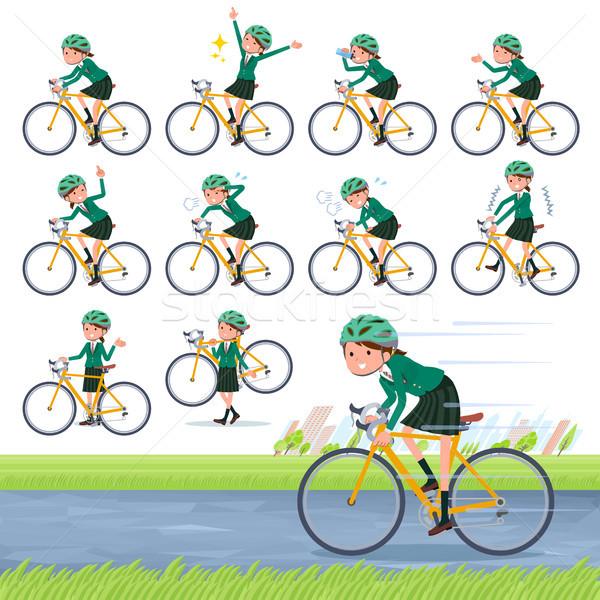 Type schoolmeisje groene fiets ingesteld weg Stockfoto © toyotoyo