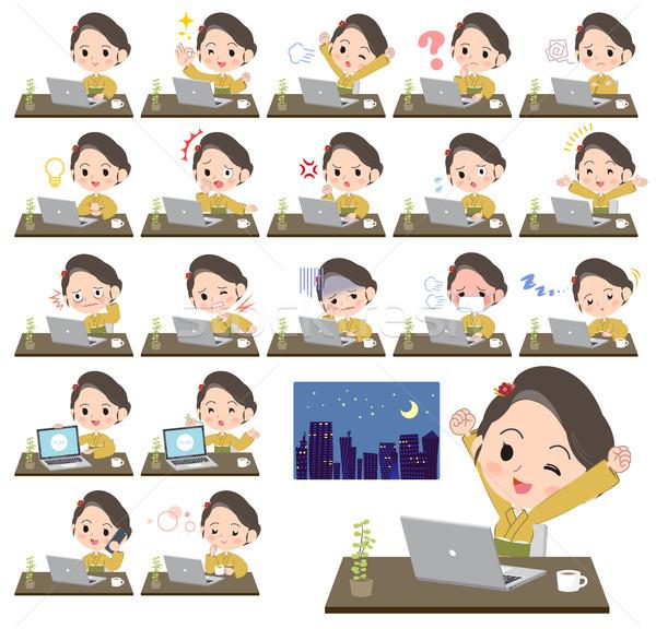 kimono Yellow ocher women_desk work Stock photo © toyotoyo