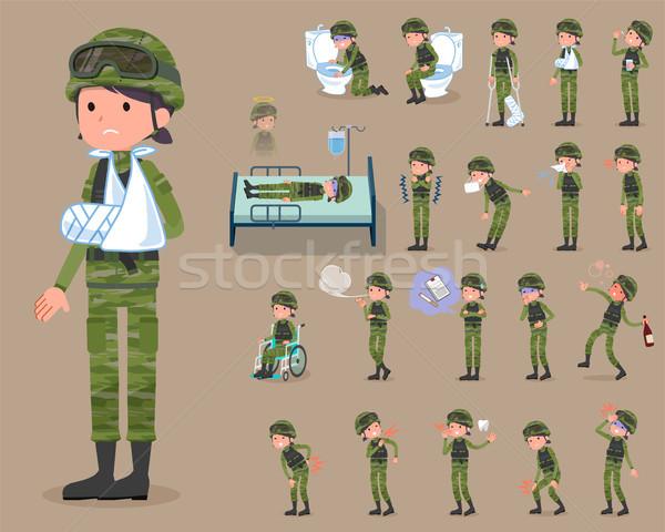 flat type military wear woman_sickness Stock photo © toyotoyo