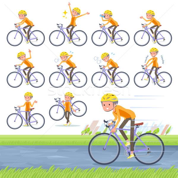 flat type short hair old women_road bike Stock photo © toyotoyo