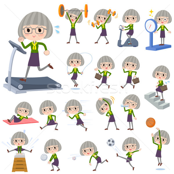 green shirt old women_Sports & exercise Stock photo © toyotoyo