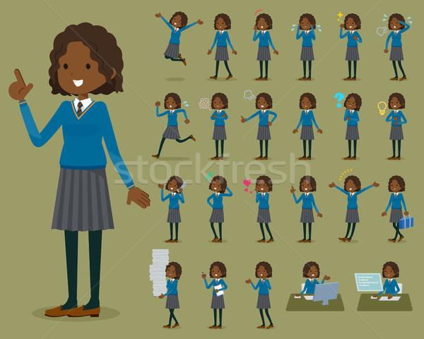 Type schoolmeisje vrouwen student lopen triest Stockfoto © toyotoyo