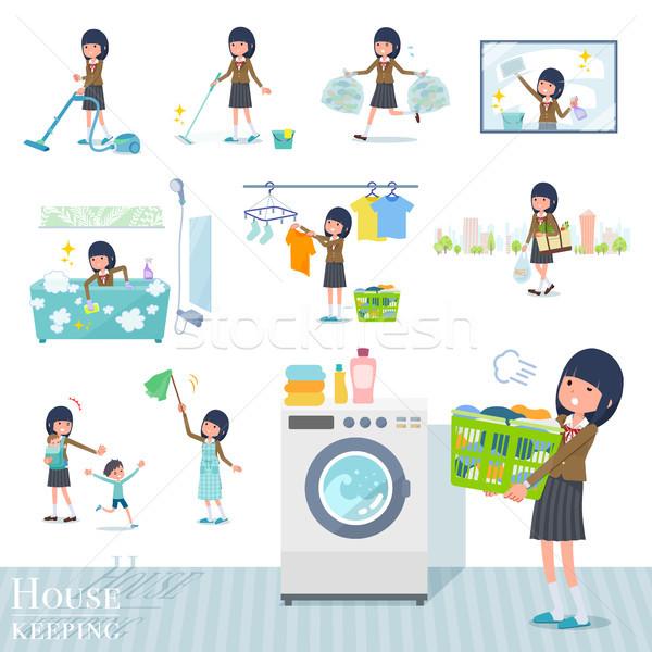 Stock fotó: Iskolás · lány · barna · szett · háztartás · takarítás