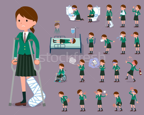 flat type school girl Green Blazer_sickness Stock photo © toyotoyo