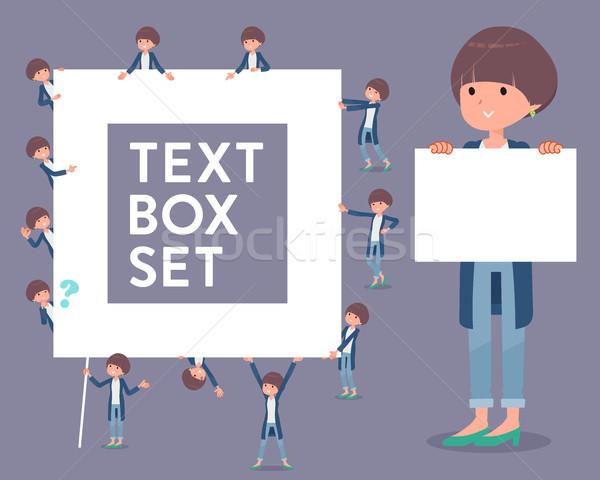 flat type Mash hair women_text box Stock photo © toyotoyo