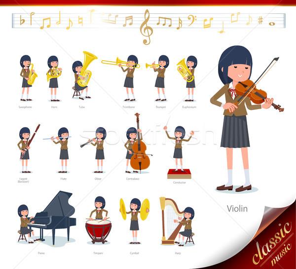 flat type school girl Brown Blazer_classic music Stock photo © toyotoyo