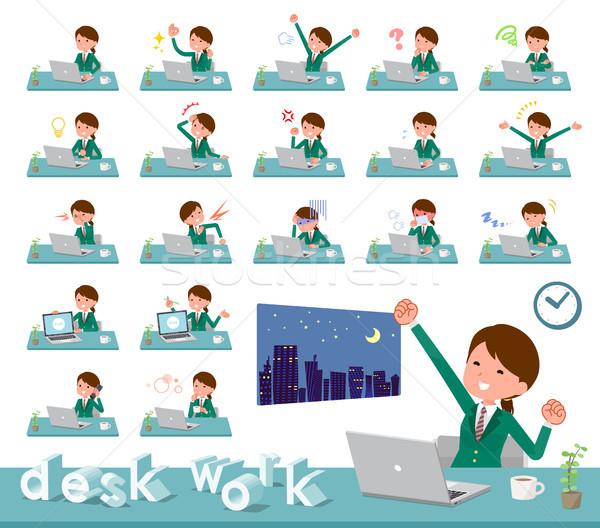 flat type school girl Green Blazer_desk work Stock photo © toyotoyo
