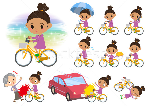 Stock photo: perm hair girl_city bicycle