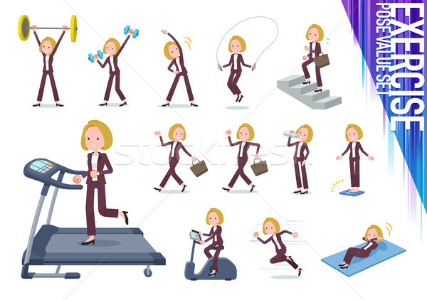 flat type blond hair business women_exercise Stock photo © toyotoyo