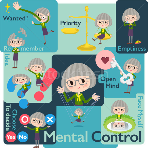 green shirt old women_Mental & volition Stock photo © toyotoyo
