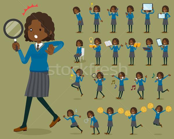 Type schoolmeisje internet vrouwen student springen Stockfoto © toyotoyo