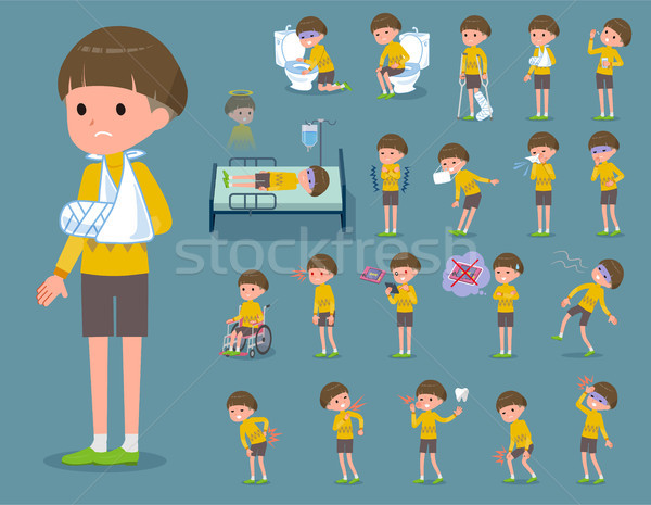 flat type Yellow clothes Bob hair boy_sickness Stock photo © toyotoyo