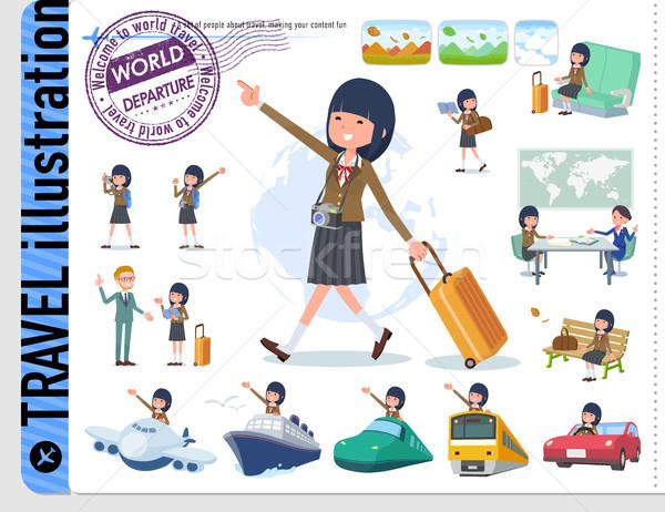 Type schoolmeisje bruin ingesteld voertuigen boten Stockfoto © toyotoyo