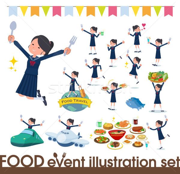 flat type school girl Sailor suit_food festival Stock photo © toyotoyo