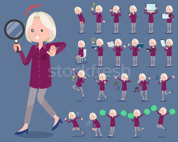 Type paars shirt oude vrouwen glimlach Stockfoto © toyotoyo