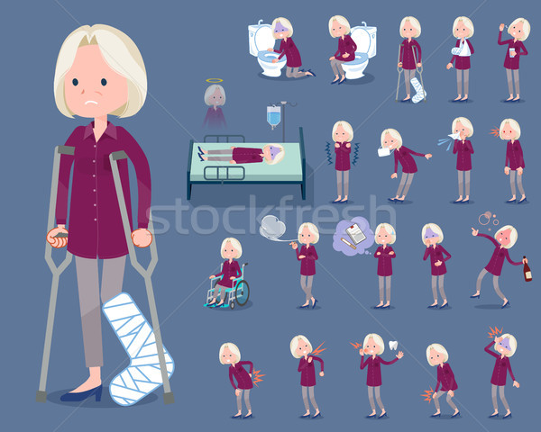 flat type purple shirt old women White_sickness Stock photo © toyotoyo