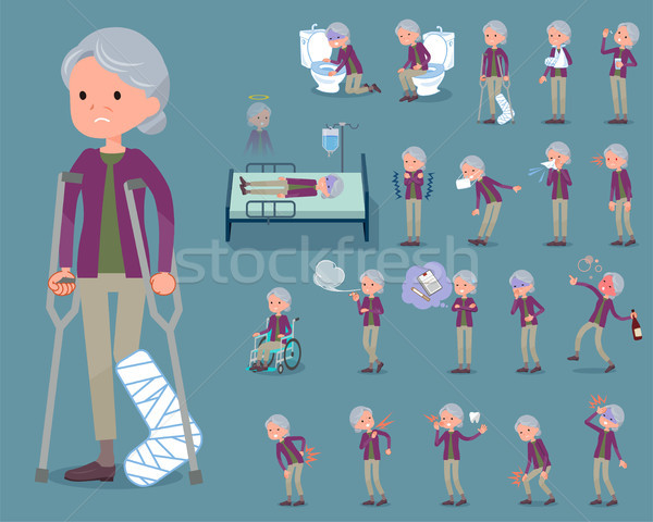 flat type Purple clothes grandmother_sickness Stock photo © toyotoyo