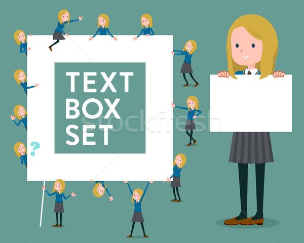 flat type school girl White_text box Stock photo © toyotoyo