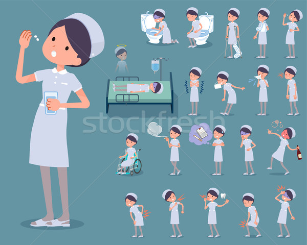 flat type Nurse wear woman_sickness Stock photo © toyotoyo