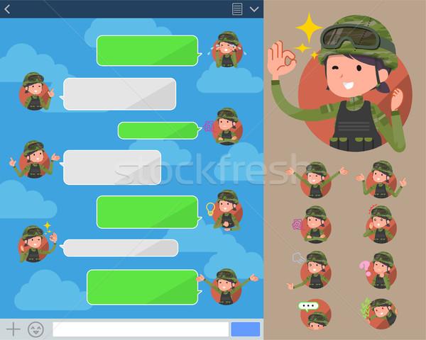 Stock fotó: Katonaság · visel · szett · különböző · nő