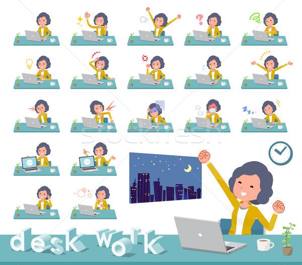 flat type Yellow jacket Middle women_desk work Stock photo © toyotoyo