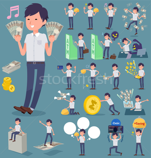 flat type White short sleeved men_money Stock photo © toyotoyo