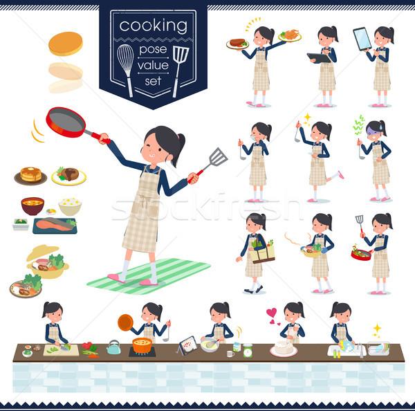 Iskolás lány matróz szett főzés különböző Stock fotó © toyotoyo