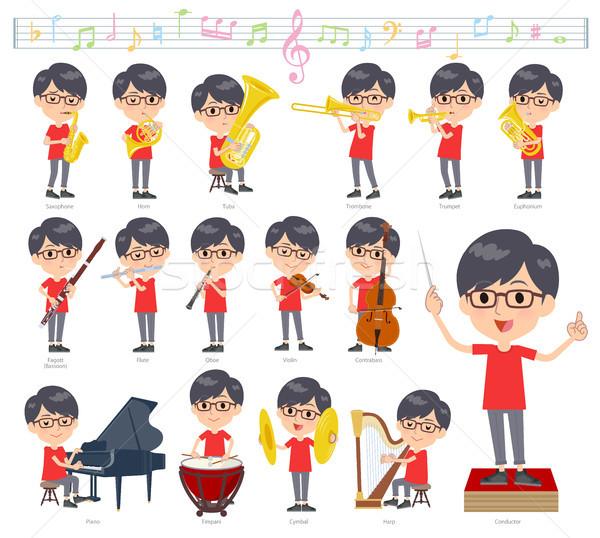 red Tshirt Glasse men_classic music Stock photo © toyotoyo