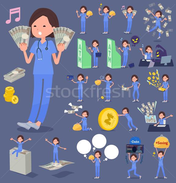 flat type surgical operation blue wear women_money Stock photo © toyotoyo