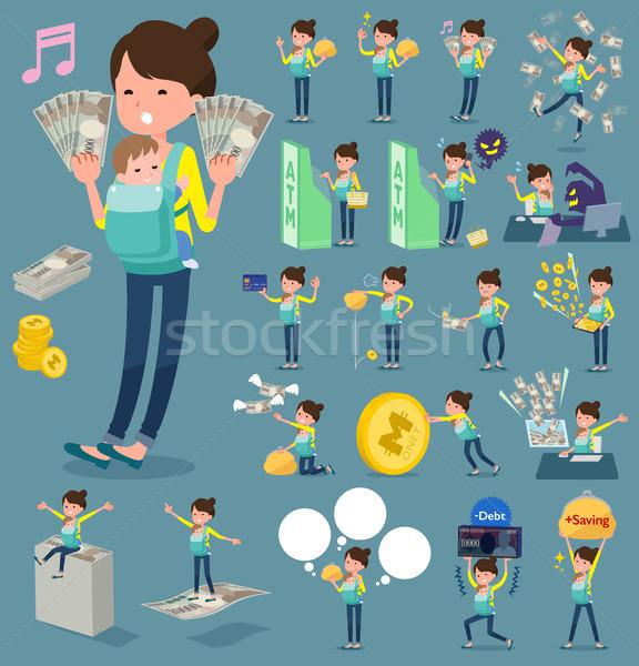 Tipo madre compras efectivo pensar monedas Foto stock © toyotoyo