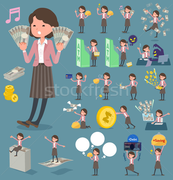 flat type Pink jacket Middle women_money Stock photo © toyotoyo