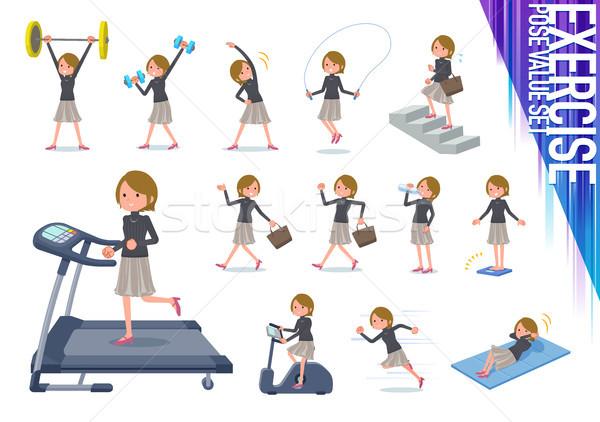 Typ kurze Haare Set Frauen Ausübung unterschiedlich Stock foto © toyotoyo
