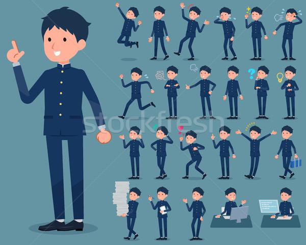 тип школьник мужчин работает печально ходьбе Сток-фото © toyotoyo
