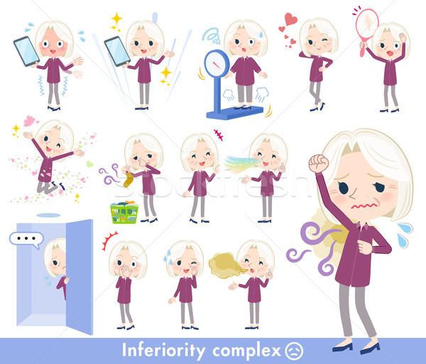 purple shirt old women White_complex Stock photo © toyotoyo