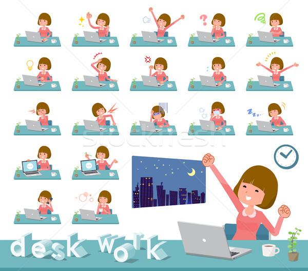Type rechtdoor haren werk ingesteld vrouwen Stockfoto © toyotoyo