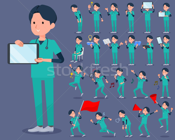 flat type surgical operation green wear men_2 Stock photo © toyotoyo