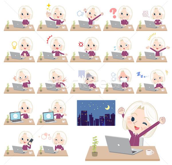 purple shirt old women White_desk work Stock photo © toyotoyo
