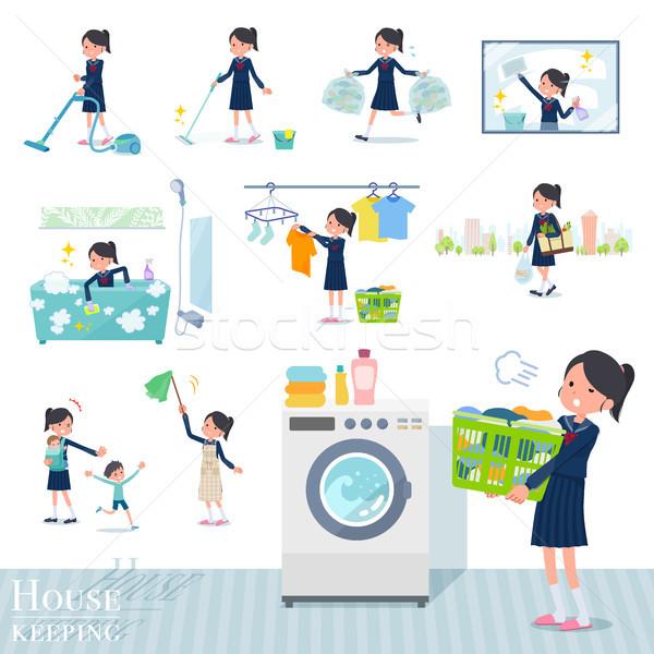 Iskolás lány matróz szett háztartás takarítás Stock fotó © toyotoyo