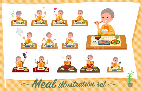 flat type short hair old women_Meal Stock photo © toyotoyo
