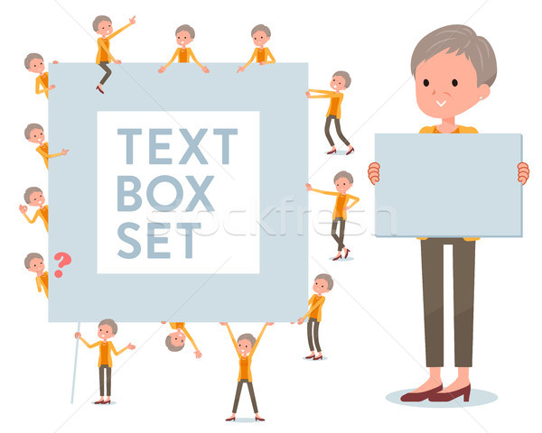 flat type short hair old women_text box Stock photo © toyotoyo