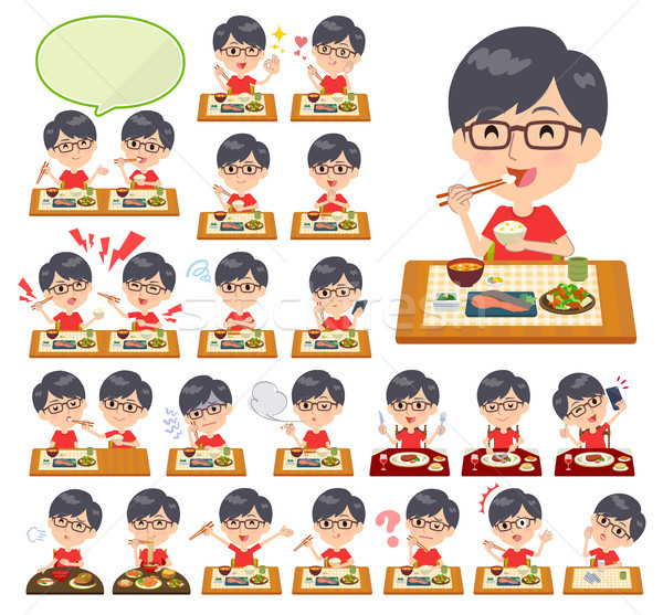 red Tshirt Glasse men_Meal Stock photo © toyotoyo