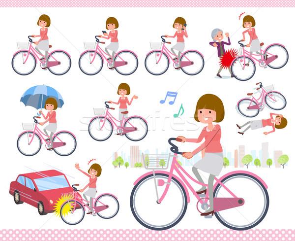 Tipo em linha reta cabelo ciclo conjunto mulheres Foto stock © toyotoyo