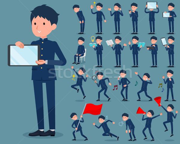 Iskolás fiú internet férfiak zászló ugrás Stock fotó © toyotoyo