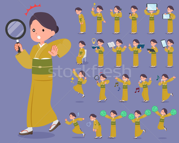 flat type yellow ocher kimono  women_2 Stock photo © toyotoyo