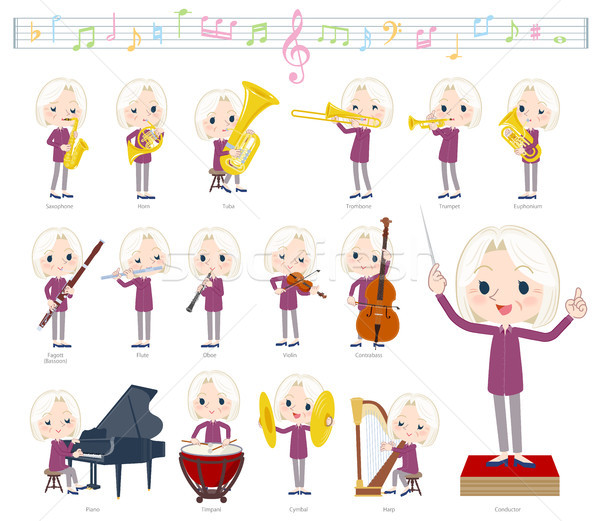 purple shirt old women White_classic music Stock photo © toyotoyo