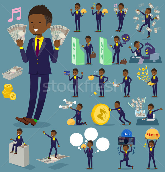 flat type Short hair businessman black_money Stock photo © toyotoyo