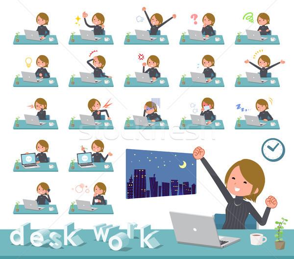 flat type Short hair women_desk work Stock photo © toyotoyo