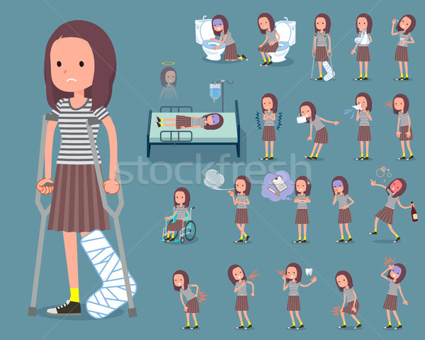 flat type Long hair women_sickness Stock photo © toyotoyo