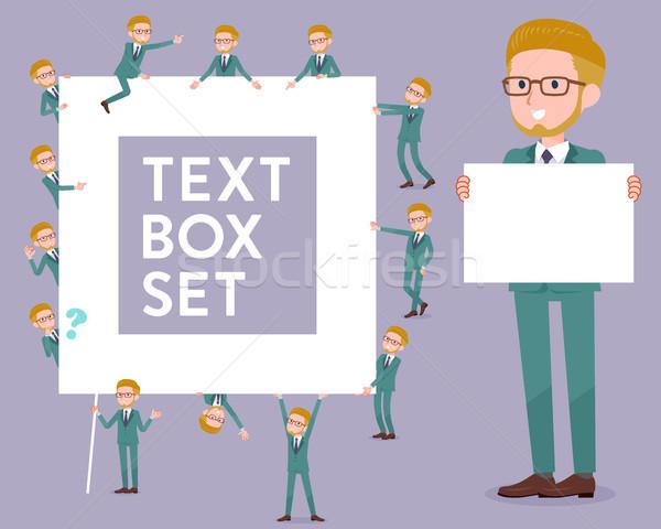 flat type blond hair businessman White_text box Stock photo © toyotoyo