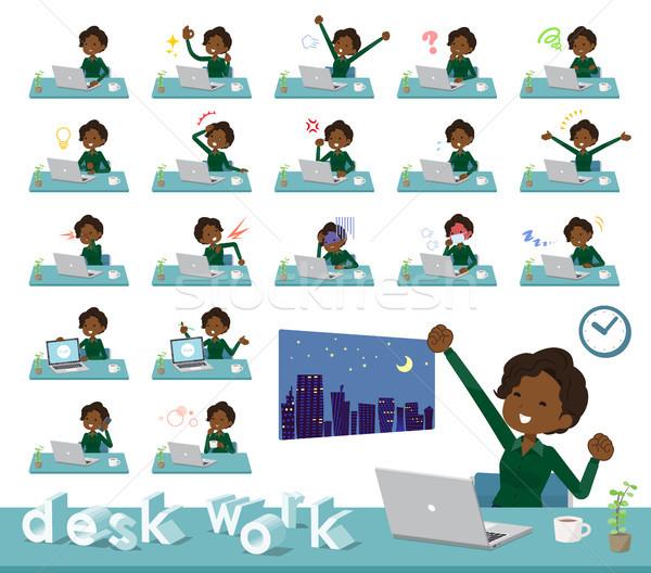 flat type business black women_desk work Stock photo © toyotoyo